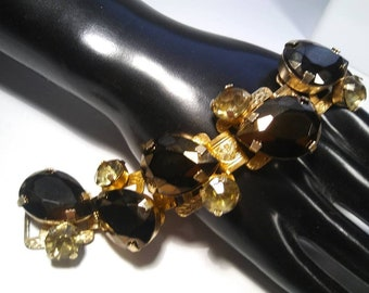 ON SALE Beautiful Rhinestone Bracelet Wide Chunky High End Rare Hard To Find Jewelry 1950's Designer Runway Statement Accessories 6 1/2 Inch