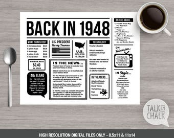 Back In 1948 PRINTABLE Placemat - 70th Birthday Decoration - 70th Birthday Table Decoration - DIY printing - DIGITAL file