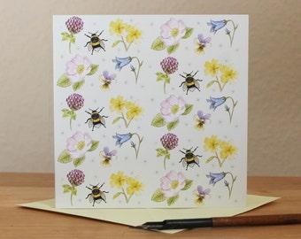 Wildflower Card, British Wild Flowers & Bumblebee Blank Square Greetings Card Clover Primrose Harebell Dog Rose Wild Pansy Bee Notecard