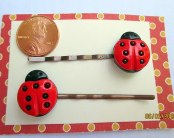 Ladybug Bobby Pins-Little Girls-Hair Clip-Childrens Accessory-Ladybug Barrettes-Kids Party Favors-Girls Birthday Gift-Toddlers Easter Basket