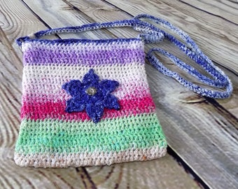Natural Fiber Crochet Rainbow Petite Cross Body Purse