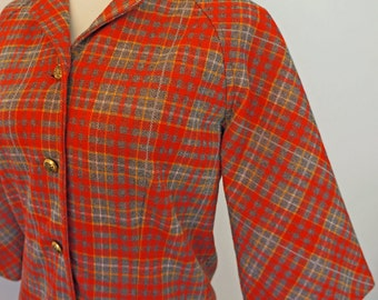 SALE Fitted 70s Orange and Gray Plaid Jacket with 3/4 Length Sleeves By Graff Californiawear