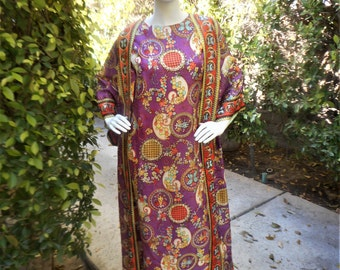 Vintage 1960's Purple Print Lounging Robe - Size Medium/Large