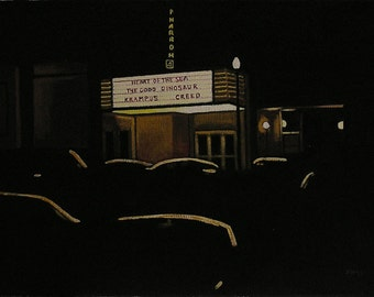 Movie Theater At Night, Plein Aire Style Oil Painting, Realistic Landscape