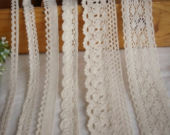Beige Cotton Lace Fabric Trim -6 types Cotton Net Lace Ribbon Trim-- 1 Yard