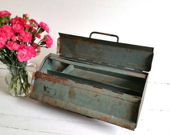 Vintage industrial iron toolbox - tool box