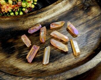 Orange Aura Titanium Crystal Quartz Point Top Side Drilled Bead - Bag of 10 - (RK30B4-02)