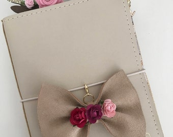 Cranberry leather TN bow