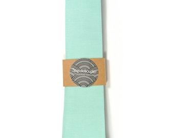 Türkis Seafoam Krawatte - Hochzeit Herren Krawatte dünne Krawatte Bio Baumwolle-gelegt-Back-Krawatte