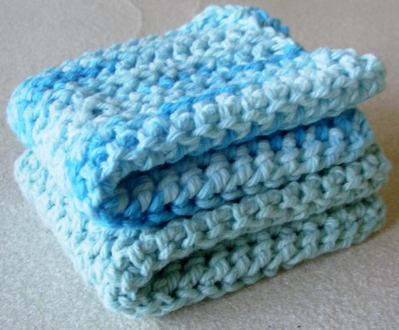 Set of Two 100% Cotton Reusable Dish Cloths You Pick Your Color!