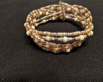 Pale Pink Braided Memory Wire Bracelet