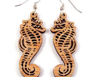 Seahorse Sustainable Wooden Earrings - in Oak - Ocean Themed Marine earrings on surgical steel hooks