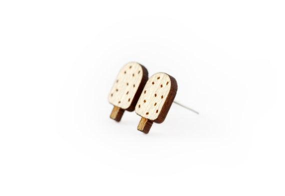 Ice cream studs - tiny posts - chocolate earrings - mini jewelry - graphic jewellery - lasercut maple wood - hypoallergenic surgical steel