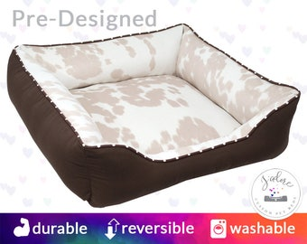 Faux Beige Cowhide Dog Bed with Name Embroidery - Faux Fur, Country, Cat Bed, Light, Ivory, Tan - Washable, Reversible and High Quality