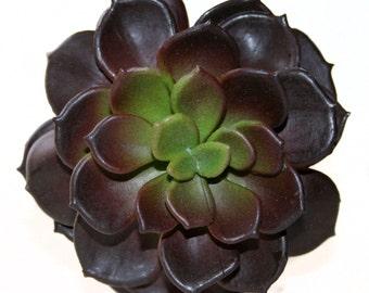 Faux Succulent in Dark Red and Green - Artificial Succulents- Echeveria