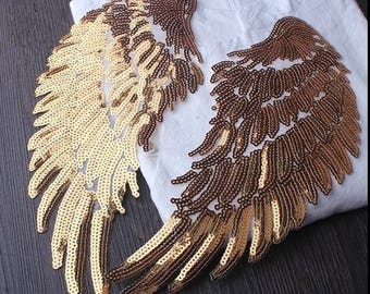 Sliver HUGE Angel Wings Patch,Wings Applique,Gold Wings ,Sequin Sliver Wings,Costume Embellishment,Sequin Wings,Large Angel Wings
