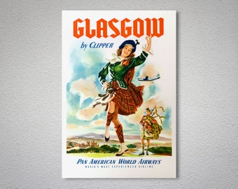 Glasgow by Clipper Pan American World Airways Travel Poster - Poster Print, Sticker or Canvas Print / Gift Idea