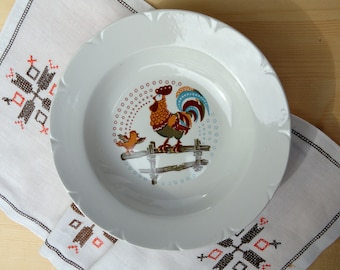 Soviet vintage kids plates Nursery dinner serving Rooster soup plate Pasta bowl Russian kitchen collectible plates Eater chicken plate