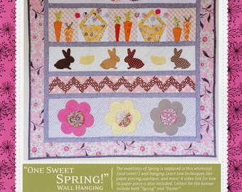 Easter Quilt Pattern, Kimberbell KD131 One Sweet Spring Wall Hanging Pattern, Quilted Wall Hanging Pattern, Applique Pattern, Bunnies