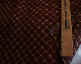 """Vintage Upholstery Fabric remnant in Burgandy w/gold - 1/2 yard long x 22"""" width"""