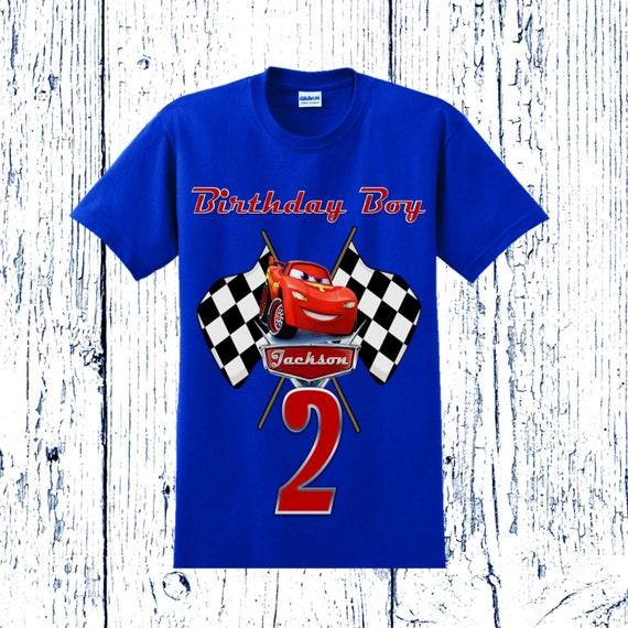 Camiseta de cumpleaños Cars Rayo McQueen cuadros diseño
