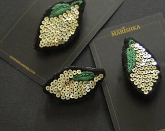 """Brooch - lemon brooch - embroidered brooch - embroidered lemon - golden brooch - glittery brooch -""""Lemon"""""""