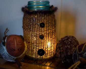 "Knit Mason Jar Cozy / Candle Cozy  Brown Tweed with 3 Vintage Buttons   Great for Bath Supplies 8.5""around Only 7.00"