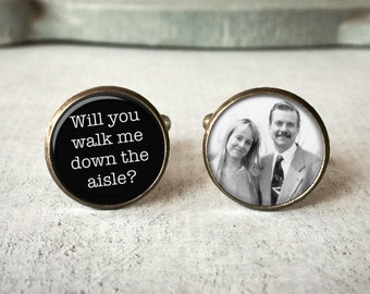 Father Of The Bride Gift, Gift from Bride, Personalized Cufflinks, Walk Me Down The Aisle Cufflinks, Custom Photo Cufflinks, Gift For Dad