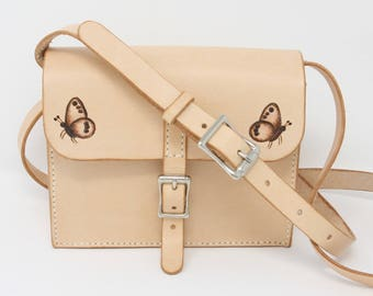 Small leather shoulder bag, hand-stitched with painted butterfly motif