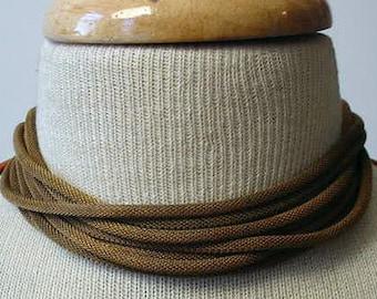 Oxidized Brass Knitted Chain Choker