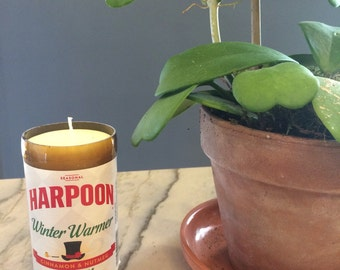 BEER Bottle Soy Candle, Upcycled Harpoon Winter Warmer Container, Hand Cut Recycled Bottle, Hand Poured, Scented