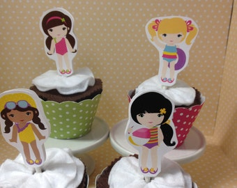 Swim Pool Party Cupcake Toppers Decorations - Set of 10
