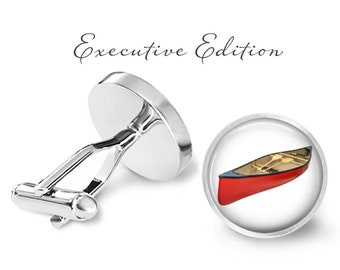 Canoe Cufflinks - Red Canoe Cufflinks - Boat Cuff Links - Boating Cufflink (Pair) Lifetime Guarantee (S0672)