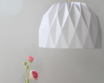 Large Origami Lamp, Plaid Hanging Lampshade, Paper Lampshade