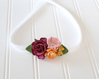 Summer Solstice - darling floral tieback in wine red, burgundy, pink, blush, orange, and mustard yellow (RTS)