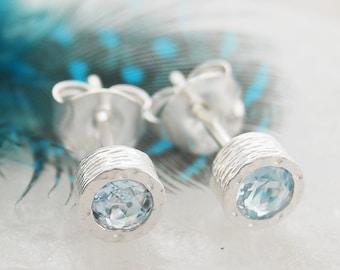 Aquamarine Earrings, Small Stud Earrings, Silver Studs, Precious Gemstone Studs, March Birthstone Earrings, Silver Gemstone Stud Earring