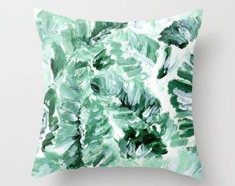 Banana Leaf Throw Pillow, banana leaf pillow, palm leaf pillow, tropical leaf pillow, leaf throw pillow, green throw pillow