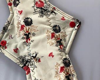 """10.25"""" Asian transportation on cotton   Top reusable cloth pad (regular)"""