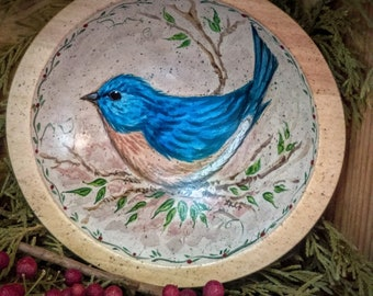 Carved Maple Bowl With Hand Painted Bluebird