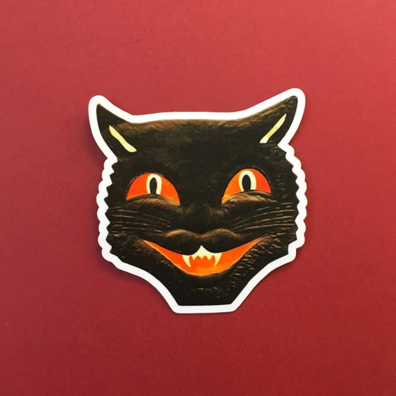 Black cat sticker vintage halloween vinyl sticker creepy sticker laptop sticker vinyl decal waterbottle sticker yeti