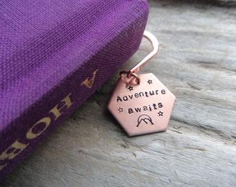 Adventure Awaits Bookmark -Copper Bookmark- Travel Stamped Gift Book Lover Addict Bookmark- Stamped Metal Bookmark