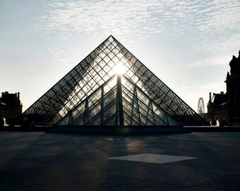 Canvas Print, Paris Photography, Louvre Pyramids Architecture, Eiffel Tower, Paris Art, Travel Fine Art Photo, French Home Decor, Wall Art