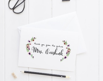 Thank You from the future Mrs card, Personalized Wedding Note Card, Thank You Card, Engagement Party, Bridal Shower