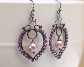 Pink Freshwater Pearl Boho Earrings, Pastel Beaded Hoops, Artisan Made Statement Earrings, Original Design, OOAK, Ready to Mail Prom Wedding