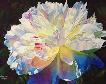 White Peony Watercolor Painting Print by Cathy Hillegas, 16x22 art, watercolor peony, floral watercolor print, gifts for mom, mothers day