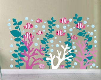 Coral Reef Decals - Coral Wall Decal- Under the Sea Decals - Fish Decals - School of Fish Decals - Clown Fish Decals-4103