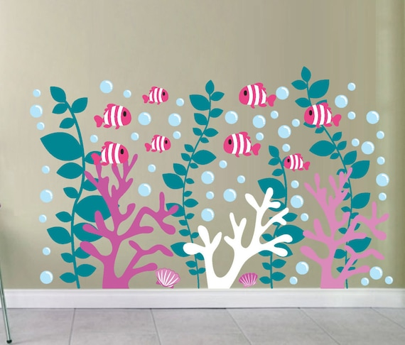 Coral Reef Decals Coral Wall Decal Under The Sea Decals - Coral monogram wall decal