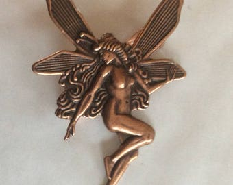 Tinkerbell Absinthe Fairy copper tone brooch / pin medium size Art nouveau style Mucha