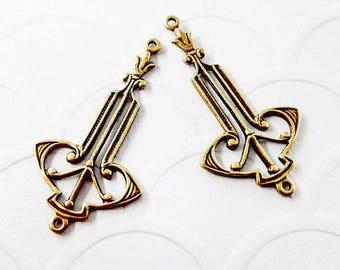 2Pcs Antiqued Brass Art Deco 2 ring connector, Art Deco earrings, Art Deco Drops #A139