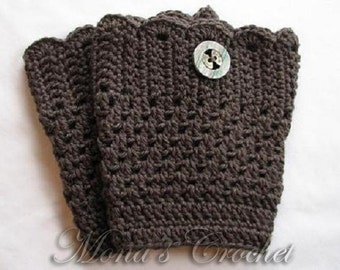 Hand Crocheted Women's Gray Boot Cuffs | Crochet Boot Topper | Crochet Leg Warmers | Crochet Boot Socks